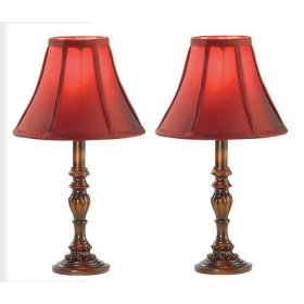 Antique Style Burgundy Fabric Table Lamp Set (Two)