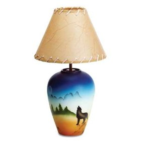 Howling Wolf Southwestern Design Lamp