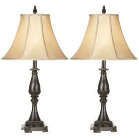 Set of Two Bronze Classic Table Lamps