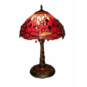 Tiffany Style Red Dragonfly Lamp