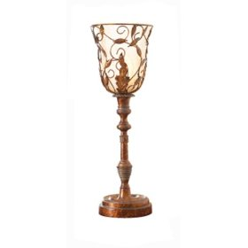 Torchiere Table Lamp with Antique Glass Shade