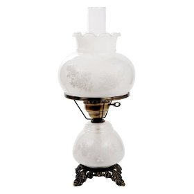 White Etched Rose Night Light Hurricane Table Lamp